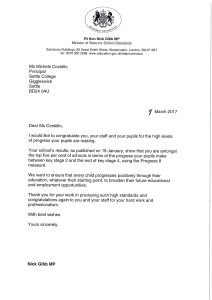 Letter from Nick Gibb re progress - Mar 17 1