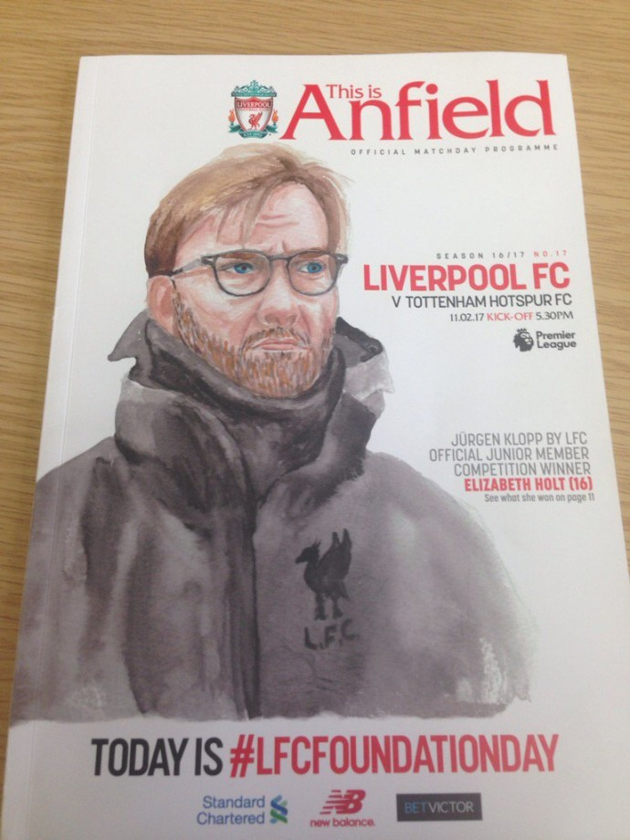 Thumbnail for Lizzie Holt's (Year 11) watercolour of Liverpool Manager on the front